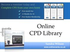Onlinevents - Online CPD Library by Sandra Wilson via slideshare