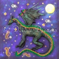 $20.00 #dragon #dragonprint #dragonart #dragonillustration The Dream Dragon The Dream Dragon comes out when the stars are bright. It flies across the night sky, breathing fire over us while we sleep, endowing us with the passion, energy and determination to follow our dreams.