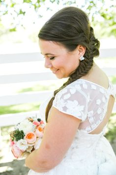 Lovely fishtail braid: http://www.stylemepretty.com/little-black-book-blog/2014/11/19/fancy-picnic-wedding-at-coyote-ranch/ | Photography: Jasmine Lee - http://www.jasmineleephotography.com/