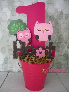 Pink Owls Centerpiece by 21Creations on Etsy, $20.00