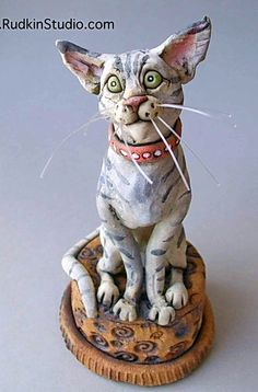 Tabby Cat Ceramic Sculpture