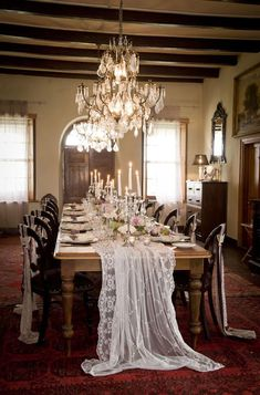 Love this lace table runner Downton Abbey Wedding Inspiration Lace Runner, Lace Table Runners, Wedding Table Runners, Table Wedding, Lace Tablecloth Wedding, Lace Tablecloths, Deco Floral, Wedding Table Decorations, Wedding Centerpieces