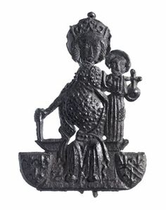 Pilgrim-badge; lead alloy; brooch; enthroned Virgin, crowned, and Child, nimbed and holding orb with cross; two coats of arms with fleur-de-lis; pin at back. (Medieval)