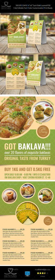 Baklava Table Tent Template - Food Menus Print Templates Download here : https://graphicriver.net/item/baklava-table-tent-template/19226491?s_rank=79&ref=Al-fatih