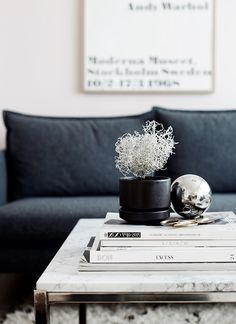 how gorgeous is this grey couch and marble coffee table combo