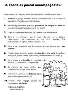 direction : charte du parent accompagnateur 2 School Discipline, Parent Communication, Classroom Organisation, Teacher Binder, French Teacher, Class Management, Primary School, Kids And Parenting, Teaching