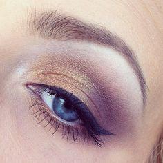 Gold/purple. Eyes Makeup.