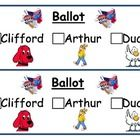 This can be used when talking about the election with grade k-2. Hold a mock classroom election after reading the stories....