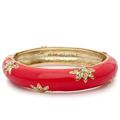 Enamel + Crystal Bangle  $32.00 / Item # B022  Coral handpainted enamel hinged bangle with crystal pave flower motif. Easy to wear hinge closure allows for wider range in fit.    12k shiny gold plated