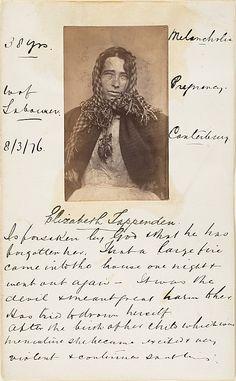 Unknown photographer, Elizabeth Tappenden, British insane asylum patient, 1875