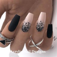 20 Black and White Acrylic Nails Ideas, 20 Black and White Acrylic Coffin … - Nail Design Ideas! - - 20 Black and White Acrylic Nails Ideas, 20 Black and White Acrylic Coffin … - Nail Design Ideas! Pink Black Nails, White Acrylic Nails, Purple Nails, Matte Black, Nail Black, Nail Pink, White Manicure, Black Acrylics, Coffin Nails Ombre