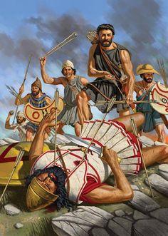 Johnny Shumate. Битва на острове Сфактерия, 425 гднэ. Отряд афинских лучников и пельтастов совершает обходной манёвр в тылу спартанцев. Battle on the island Sphacteria, 425 BC
