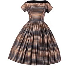 Suzy Perette Vintage 1950's Silk Two Tone Striped Party Dress ❤ liked on Polyvore