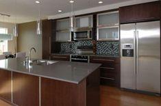 quartz countertops with tile backsplash | Modern Kitchen Design