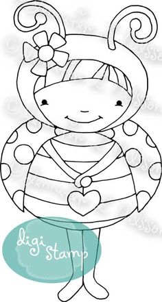 Digital Stamp - Little Ladybug - digistamp Coloring Pages For Girls, Coloring Book Pages, Coloring Sheets, Embroidery Applique, Embroidery Patterns, Ladybug Crafts, Digi Stamps, Copics, Art Plastique