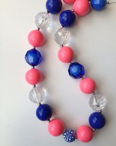 Pink and blue Chunky bead necklace..chunky by GirlzNGlitter, $16.50