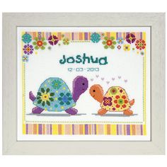Flower Turtles Birth Record - Cross Stitch, Needlepoint, Embroidery Kits – Tools and Supplies