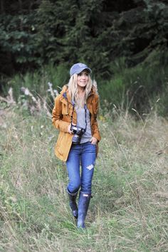 brown jacket, grey cami, blue skinny jeans, wellies, hiking wear