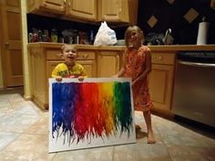 Melting crayons with hair dryers... (Hint, good to do outside...)