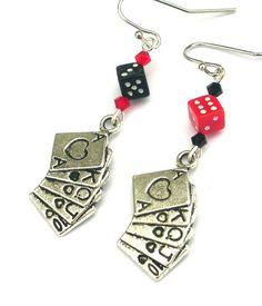 Gambling earrings deck of cards playing card earrings by Mindielee, $16.00