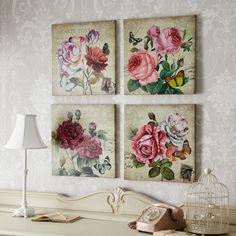 Giant Floral Brights & Bold Canvas - Set of 4