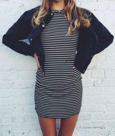 bomber jacket + stripe dress=yassss