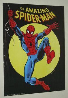 Amazing Spider-man 1970's poster pin-up with art by John Romita Sr: Vintage original 1978 Marvel Comics Amazing Spiderman comic book pinup 1