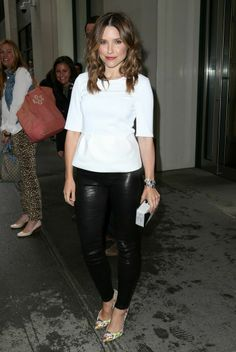 Cool Chic: Sophia Bush in J BRAND's Leather Maria Super Skinny Legging in Noir and Womenswear Omlie Blouse in White from the S/S 2014 Collection in New York, NY.