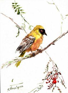 Weaver Bird Original watercolor painting 12 X 9 in by ORIGINALONLY, $28.00