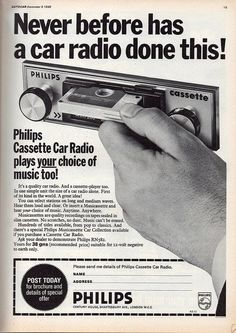 A radio and cassette-player? Wow! That's cutting-edge. I'd love to know what music's available in the Philips Musicassette Car Collection (ha!) - photo via Weird Retro on fb