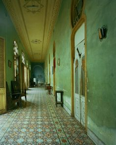Richly adorned cement tiles and faded colonial grandeur give this Cuban hallway a certain charm. 'Green Hallway, Havana', part of the 'Cuba portfolio by Michael Eastman Photography Havana House, Havana Club, Interior And Exterior, Interior Design, Green Rooms, Green Walls, Shades Of Green, House Design, Floor Design
