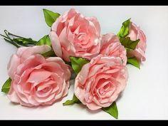 Интерьерная роза из атласной ленты - YouTube