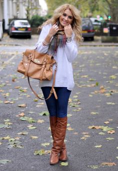 winter white with brown boots & bag