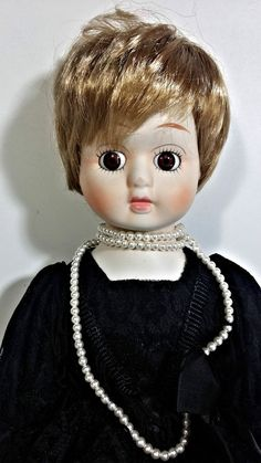 """Porcelain Doll Female Girl Doll Black Dress Pearls Blonde Collectible 16"""" Inch   eBay"""