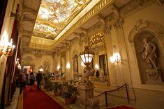 The elegant Palais Daun-Kinsky located on Vi. Event Venues, Spotlight, Castle, Fair Grounds, Ceiling Lights, Vienna, Austria, Html
