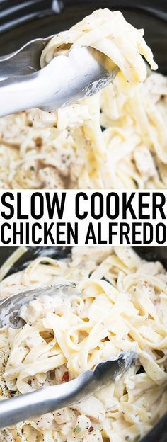 This quick and easy SLOW COOKER CHICKEN ALFREDO recipe requires 5 ingredients and 5 minutes of prep time. This crockpot chicken alfredo is rich and creamy and an easy weeknight meal. From cakewhiz.com