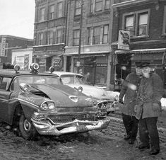 car wreck- Possible Chief's car. Ford Fairlane, Old Vintage Cars, Old Cars, Car Badges, City Scene, Police Cars, Police Vehicles, Car Crash, Fire Engine