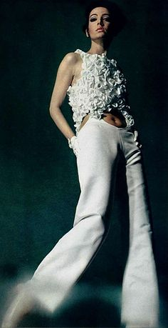 1968 UNGARO 1968 white jumpsuit pants cut out belly button pant suit jump floral model magazine designer vintage fashion 1968 white jumpsuit pants cut out belly button pant suit jump floral model magazine designer vintage fashion Sixties Fashion, Mod Fashion, French Fashion, High Fashion, Vintage Fashion, Fashion Trends, Fashion Coat, Jean Patou, Vintage Outfits