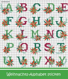 Xmas Cross Stitch, Cross Stitch Letters, Cross Stitch Boards, Cross Stitching, Cross Stitch Embroidery, Christmas Alphabet, Christmas Cross, Christmas Stocking Pattern, Alphabet And Numbers
