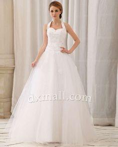 A-line Wedding Dresses Halter Floor Length Netting Satin Ivory 01001010029