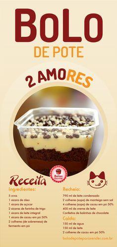 Receita de Bolo de Pote Dois Amores - Curso Passo a Passo - Acesse o perfil e veja os sabores: Chocolate Fit, Raffaello... Recheios e caudas: Mousse de Amarula, Sonho de Valsa, Pão de Mel, Oreo, Cenoura Trufado, Ferrero Rocher, Leite Ninho, Ouro Branco, Beijinho Fit... Curso Gourmet #bolodepote #bolodepotedoisamores  #bolodoisamores #receitasdebolodepote #receitabolodepote #bolodepotegourmet #bolodepoteparavender #bolodepotepassoapasso #bolodepotelucrativo → bolodepoteparavender.com.br Easy Smoothie Recipes, Easy Smoothies, Good Healthy Recipes, Sweet Recipes, Cake Recipes, Snack Recipes, Dessert Recipes, Coconut Recipes, Cream Recipes