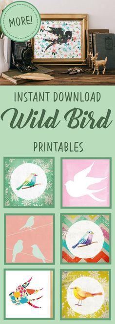 Printable wall art | colorful birds | bird outline | yellow, floral birds | rustic farmhouse decor | boho home decor | easy dorm room poster | instant download | #affiliate