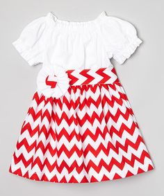This White & Red Chevron Dress & Sash - Infant, Toddler & Girls by Sweet White Peony is perfect! #zulilyfinds