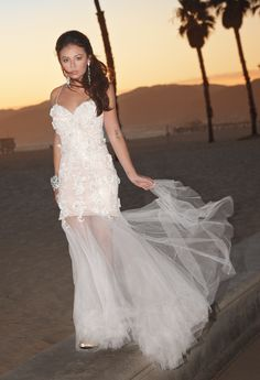 White Tulle Prom Dress with 3D Flowers by Camille La Vie & Group USA modeled by Janel Parrish of Pretty Little Liars