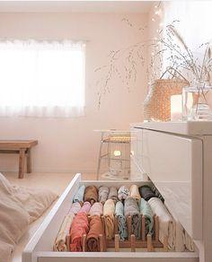 Pin on 収納 Room Design Bedroom, Room Ideas Bedroom, Bedroom Decor, Dorm Room Designs, Study Room Decor, Design Room, Decor Room, Home Organisation, Dresser Drawer Organization