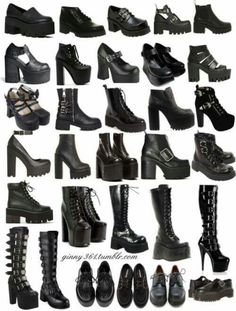 Pin by Yahima Garcia on Dark / Witchy fashion. Grunge Outfits, Edgy Outfits, Mode Outfits, Mode Emo, Heeled Boots, Shoe Boots, Mode Rock, Goth Shoes, Mode Grunge