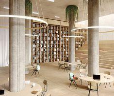 Inicio - Bover Barcelona Lights: Iluminación contemporánea Public Library Design, Interior Columns, Column Design, Workplace Design, Co Working, Space Architecture, Office Interior Design, Commercial Design, Ceiling Design