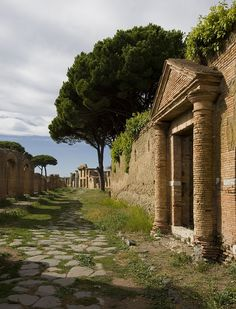ancient Roman ruins of Ostia Antica, Rome, Italy