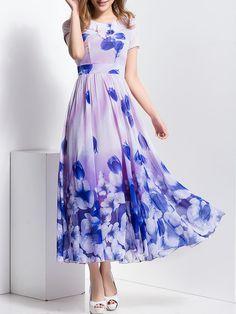 Shop Maxi Dresses - Short Sleeve Crew Neck Beach Maxi Dress online. Discover unique designers fashion at StyleWe.com.