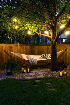 Backyard Hammock, Backyard Pools, Oasis Backyard, Hammock Ideas, Fun Backyard, Backyard House, Outdoor Hammock, Backyard Paradise, Backyard Lighting
